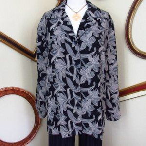 Briggs Petite Floral Long Sleeve Shirt Size 16P